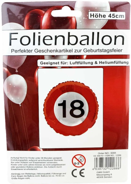 Folienballon 18 Geburtstag