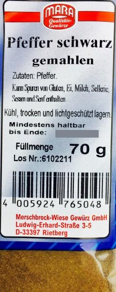 Pfeffer schwarz Gewürz gemahlen 70gr