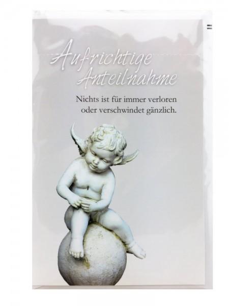 Trauerkarte Schlicht Aufrichtige Anteilnahme Engelmotiv