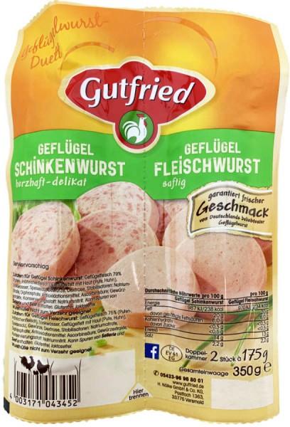 Gutfried Geflügel Duett Fleischwurst und Schinkenwurst 350g