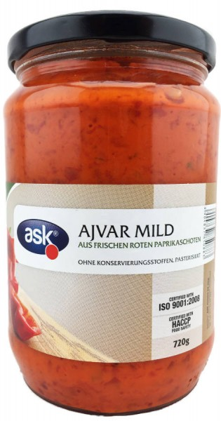Ajvar mild aus roten Paprikaschoten 720g