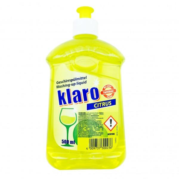 Klaro Spülmittel Citrus 500ml Hocheffizient
