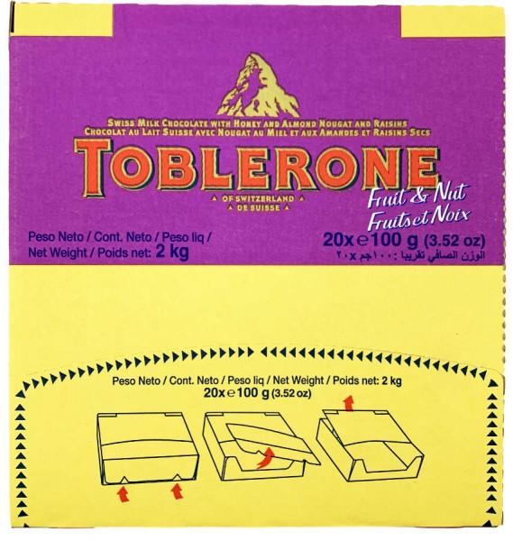Toblerone Fruit and Nut Schweizer Schokolade 20x100g Kiste