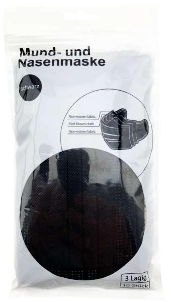 Mundschutz Masken Schwarz 3-Lagig 10er