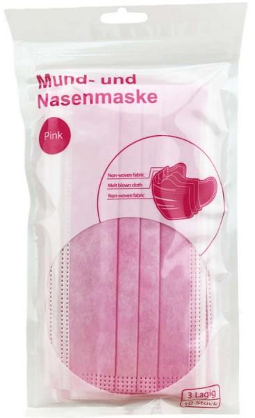 Mundschutz Masken Pink Rosa 3-Lagig 10er