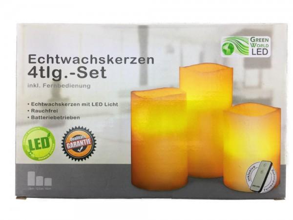 Echtwachs Kerzen LED 4tlg.-Set ink Fernbedienung