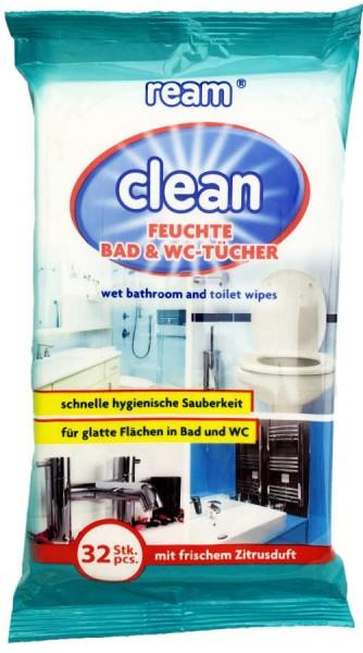 Ream Clean Feuchte Bad und WC Tücher 32 Stück