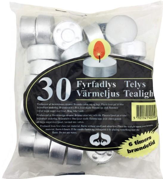 Teelichter 30er Pack 6 Stunden Brenndauer