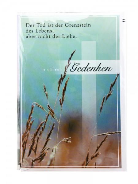 Trauerkarte Bunt In stillem Gedenken Weizenmotiv