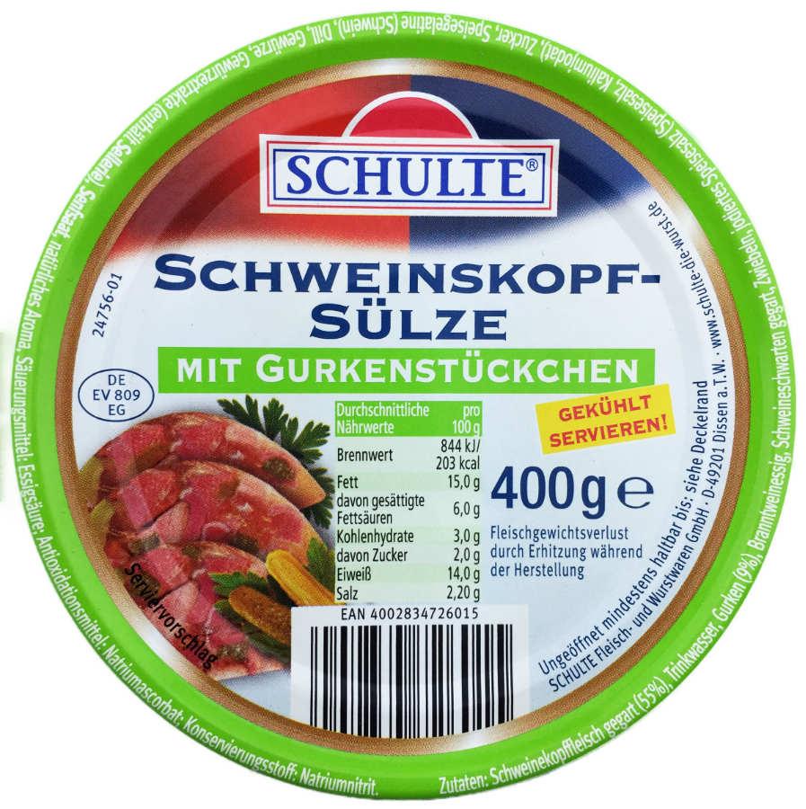 Schulte Schweinskopfsülze mit Gurkenstückchen 400g   Fleisch & Wurst ...
